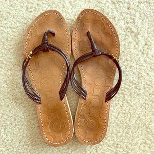 Coach black patent leather flip flops size 9